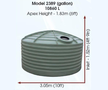 Model 2389 Gallon 10860 Litre Water Tank