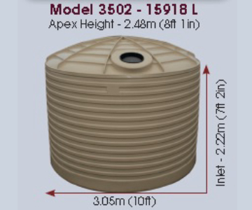 Model 3502 Gallon 15918 Litre Water Tank