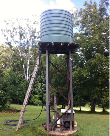 water tank installation on stand