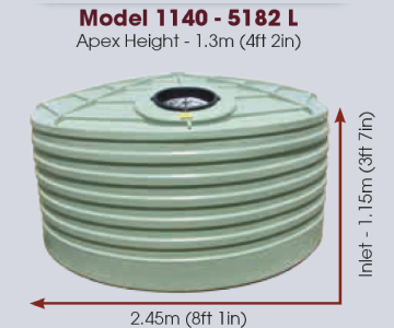 Model 1140 gallon 5182 litre water tank